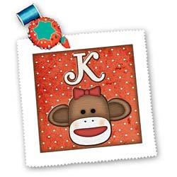 qs_102814 Dooni Designs Monogram Initial Designs - Cute Sock Monkey Girl Initial Letter K - Quilt Squares