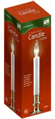 """(14) Holiday Wonderland 1528-88 9"""" Clear Brass Plated Electric Sensor (Dawn To Dusk) Window Candles"""
