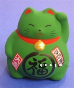 Green Ceramic Maneki Neko Lucky Cat #KT6-GC