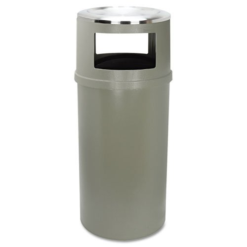 Rubbermaid Commercial Ash/Trash Classic Container W/O Doors, Round, 25 Gal, Beige - One Waste/Smoking Receptacle And One Ashtray. front-561595