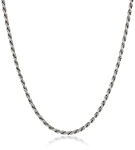 Sterling Silver Ladies Italian 1.30 mm Diamond-Cut Rope Chain Necklace, 16""