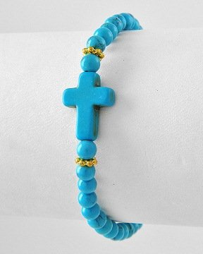 Inspirational Beaded Cross Bracelet - Blue