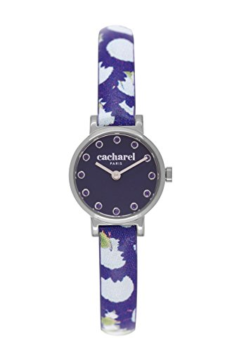 Cacharel CLD - 029/GG Women's Quartz Analogue Watch, Blue Leather Strap Blue Dial