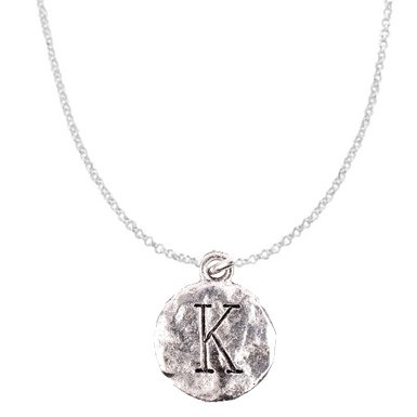 "Chelsea Hill ""Kappa"" Sorority Symbol Or Monogram Initial ""K"" Necklace, Hammered Pewter"