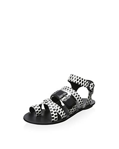 Loeffler Randall Women's Strappy Sandal with Toe Ring  [Cream/Black]