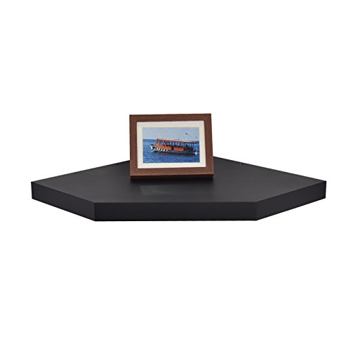 Welland Chicago Wall Floating Corner Shelf 20 Inch Black