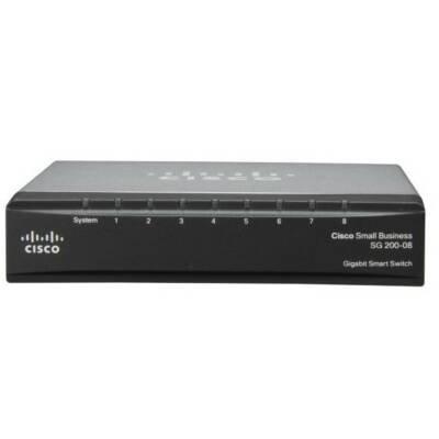 Cisco SG200-08 Gigabit Smart Switch - 8 Ports - Manageable - 8 x RJ-45 - 10/100/1000Base-T - SLM2008T-NA