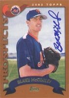 Blake McGinley Brooklyn Cyclones - Mets Affiliate 2002 Topps Prospects Autographed... by Hall of Fame Memorabilia