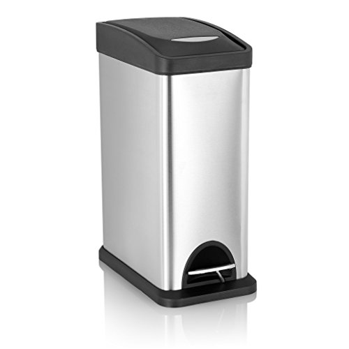 TECKING Rectangular Step Trash Can(2.1 Gal/ 8L), Stainless Steel Fingerprint-Proof , Plastic Lid,with Removable Inner Bucket (Dog Water Dispenser 1 2 Gallon compare prices)