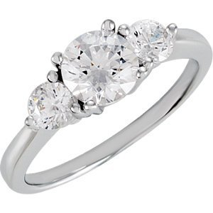 Sterling Silver Cubic Zirconia 3-Stone Ring Size 8