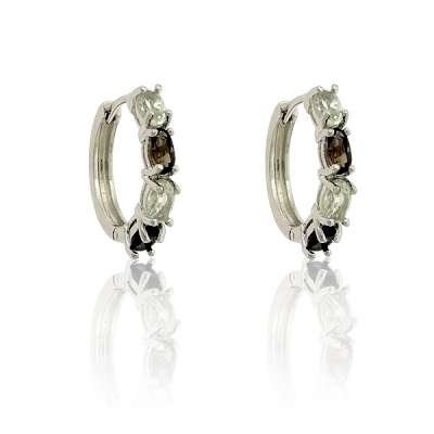 Fashion Earrings 925 Sterling Silver with Smokey Topaz and Green Alternating Gemstone(WoW !With Purchase Over $50 Receive A Marcrame Bracelet Free)