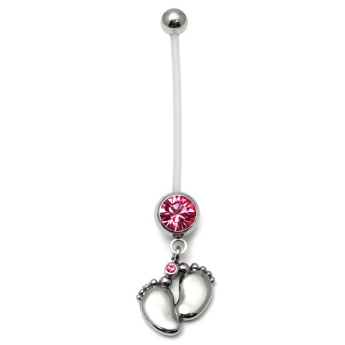 Pregnancy belly bars | Baby Feet | Pink | PTFE navel bars