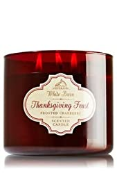 Bath & Body Works White Barn Thanksgiving Feast Frosted Cranberry 3-wick Candle