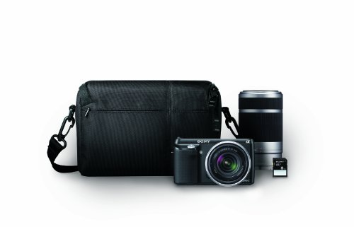 Sony  NEX-F3K/BBDL 16.1 MP Compact System Camera (black) with 18-55mm Lens, 55-200mm Lens, Card and Bag Bundle