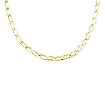 Solid 14K Yellow Gold Open Cuban Link Chain Necklace 4.8Mm 18