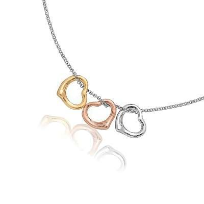 Stylish Sterling 925 Silver Cable Chain Necklace with Sliding Three Tone Hearts Pendant(WoW !With Purchase Over $50 Receive A Marcrame Bracelet Free)