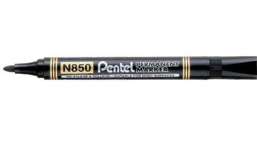 Pentel Lot de 12 Marqueurs permanent N850, pointe ogive, noir