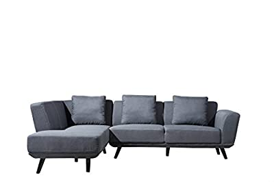 Mid Century Modern Linen Large Sectional Sofa