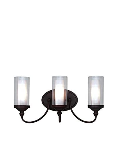 Bel Air Lighting Fremont Double Glass 3-Light Wall Bar, Rubbed Oil Bronze