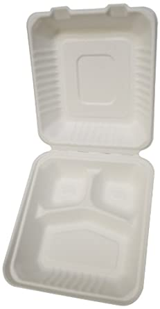 """PrimeWare DHL-83 White Molded Fiber Hinged Lid Container, 7-7/8"""" Length x 8"""" Width x 3-1/5"""" Height, Deep, Medium, 3-Section (Case of 200)"""