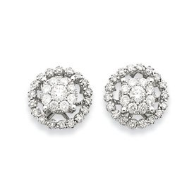 14k White Gold Large Flower and Jacket Diamond Post Earrings - JewelryWeb