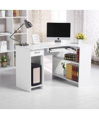 Simple And Functional Corner Computer Desk Home Office With Storage Drawer Shelf In White Colour - Features Removable 2 Shelf Cabinet Which Offers You Extra Space For Files And Books Storage - Easy To Assemble With Full Instructions(Size:118 x 77 x 76cm)