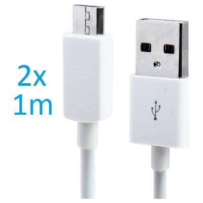 2 x Samsung Galaxy S3 Datenkabel / Ladekabel / S 3 / S3 Mini - Micro USB / Premium Kabel in weiß - 1 Meter - von THESMARTGUARD