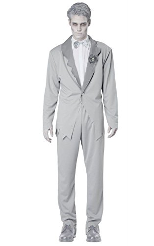 [Scary Ghostly Groom Costume Adult Mens Zombie Dead Halloween Spirits Suit Sm-XL] (Dead Groom Costume)