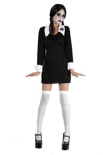 Wednesday Creepy Schoolgirl Childs Halloween Fancy Dress Costume - L 146cms (Wednesday Addams Shoes)