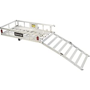 Tow Tuff 49-Inch Aluminum Cargo Carrier with Bi-Fold Ramp by Tow Tuff