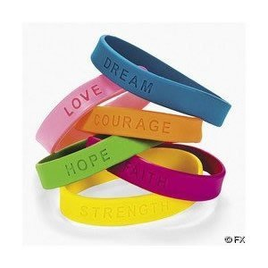 Rubber Inspirational Sayings Wristband Bracelets For Kids (2 dz)