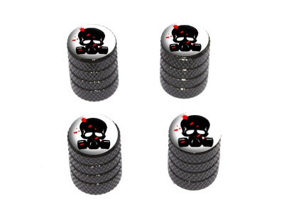 Zombie Outbreak Response Team – Blood – Skull Gas Mask – Tire Rim Wheel Valve Stem Caps – Black
