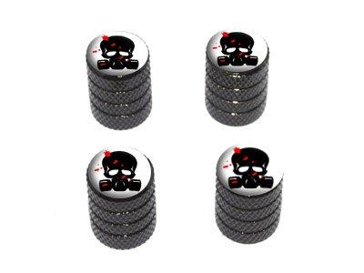 Zombie Outbreak Response Team – Blood – Skull Gas Mask – Tire Rim Wheel Valve Stem Caps – Black