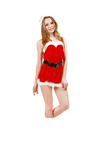 JUNPAI Women's Santa Dress Including Hat,Dress and Belt