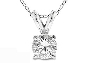 "0.40 Ct Round Cut 14K White Gold Diamond Pendant with 18"" White Gold Chain"
