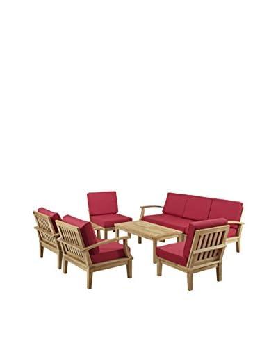 Modway Marina 8-Piece Outdoor Patio Teak Sofa Set, Natural/Red