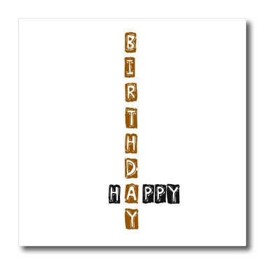 Patricia Sanders Creations - Happy Birthday - Scrabble Style - Fun Word Art - 10x10 Iron on Heat Transfer for White Material (ht_49872_3)
