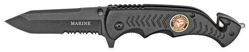 Us Marines Marine Corps Rescue Folding Knife - Black