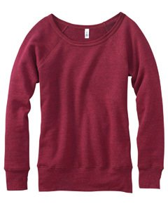 Bella for Women's Mia Slouchy Wideneck Fleece Sweatshirt - RED HEATHER - X-Large