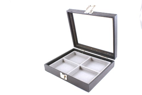 Display Case with Glass Lid & Clasp + Grey 4 Compartment Insert