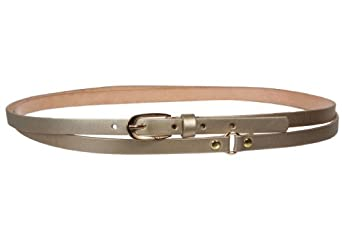 """1/2"""" (13 mm) Skinny Solid Leather Double Wrap Belt Size: L/XL - 40"""" Color: Gold"""