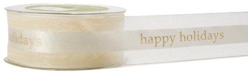 May Arts 1-1/2-Inch Wide Ribbon, Ivory Happy Holidays Print