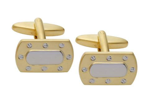 Code Red Imitation Rhodium and Gold Plated Cufflinks with Screw Design
