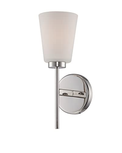 Nuvo Lighting Benson 1-Light Vanity & Wall Sconce, Polished Nickel/White