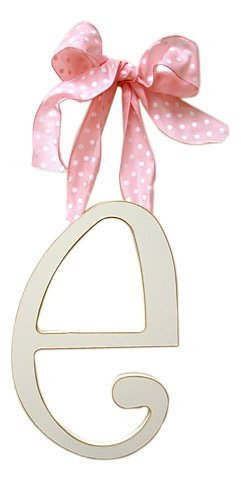 New Arrivals Wooden Letter E with Pink Polka Dot Ribbon, Cream