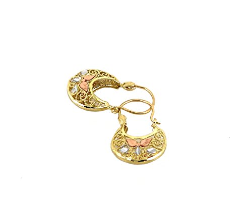 Real 10K Tri Color Yellow, White, & Rose Gold Filigree Basket Hoop Earrings, Height = 23mm, Width = 13mm (Filigree Basket compare prices)