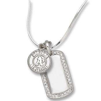 Oakland Athletics Women's Mini Dog Tag by LogoArt(r) - Silver One Size