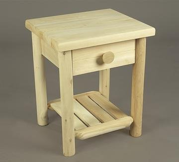 Cheap 24″ Indoor Accessories Natural Cedar Log-Style Wooden End Table with Drawer (B0042TH7LA)