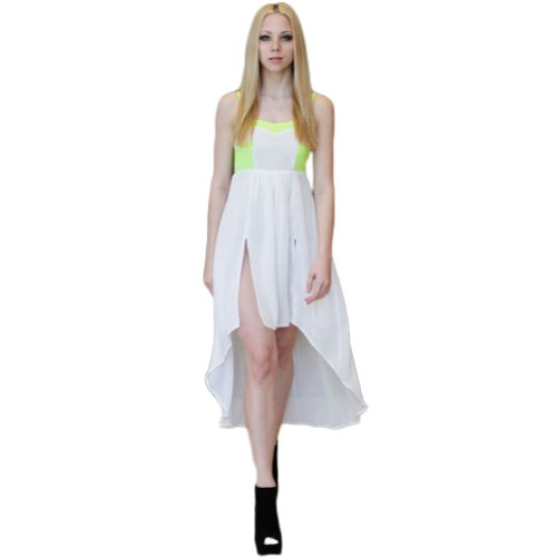 Peach Neon Green & White Dress White M