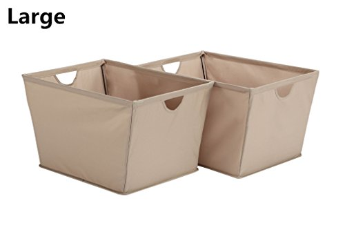 StorageManiac Pack of 2 Wire Frame Folding Storage Basket, Durable Open Tapered Polyester Canvas Storage Bin with Built-in Handles, Khaki, Large